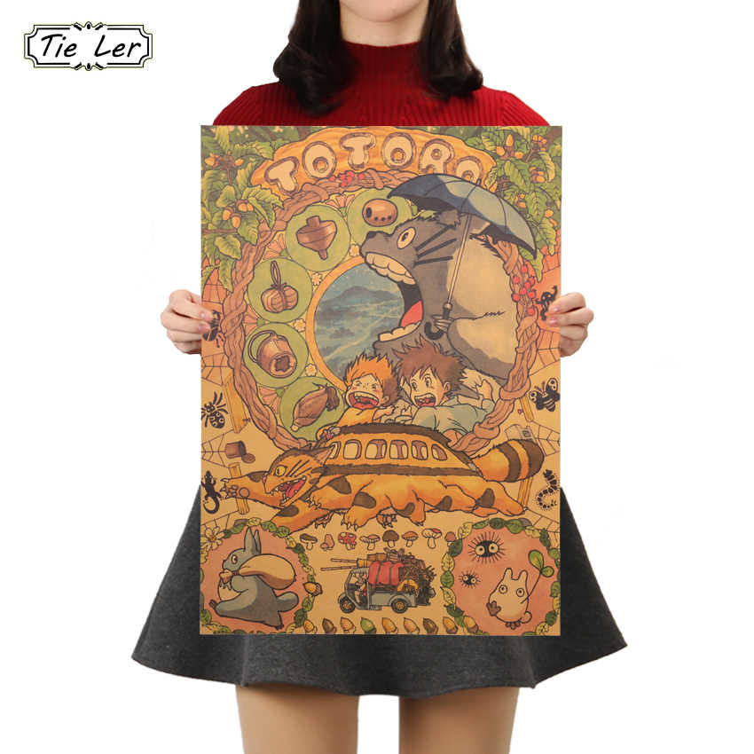 TIE LER My Neighbor Totoro Kraft Paper Poster Japanese Animation Poster Decor Wall Sticker 50.5X36cm