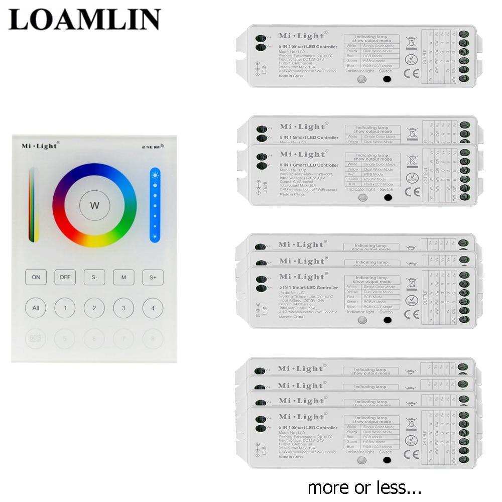 Mi-light ls2 2.4g RF LED Controller 8 zona 5in1 WiFi WLan app RGB WW RGBW cct RGB