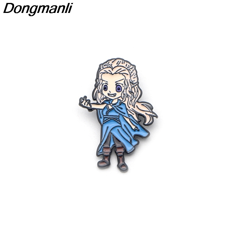 P3150 Wholesale 20pcs lot Game of Thrones Emilia Clarke Metal Enamel Pins and Brooches for Women