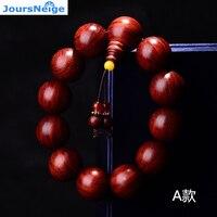 Authentique Lobulaire bois de santal Rouge En Bois Bracelets Haute Huile Lisse Motif Étoile D'or Bouddha perles Rondes Chaîne de Main Bijoux