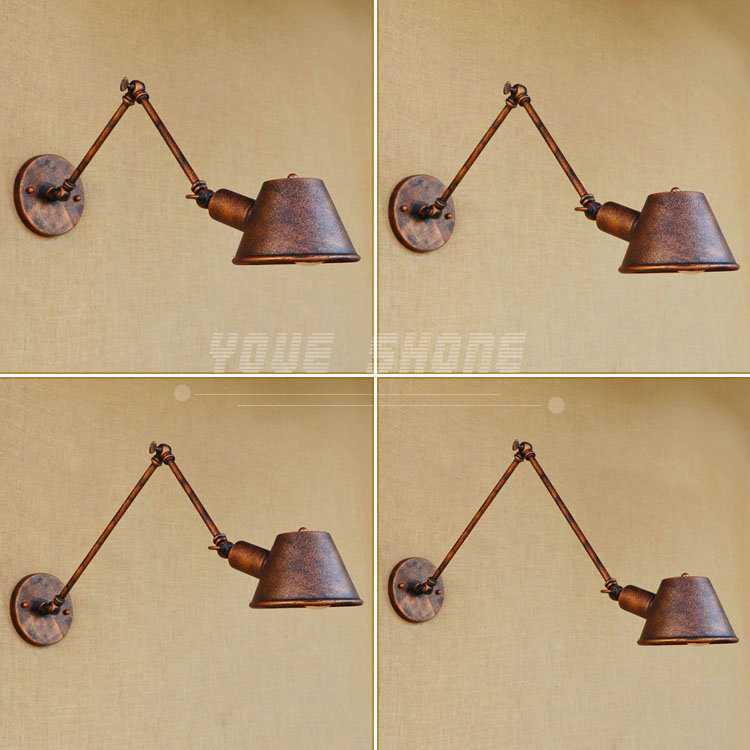 Adjustable iron rust folding RH long arm wall lamp free shipping