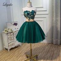 Liyuke 우아한 아플리케 다크 블루 댄스 파티 드레스 라인 끈이 파티 드레스 무릎 길이 드레스
