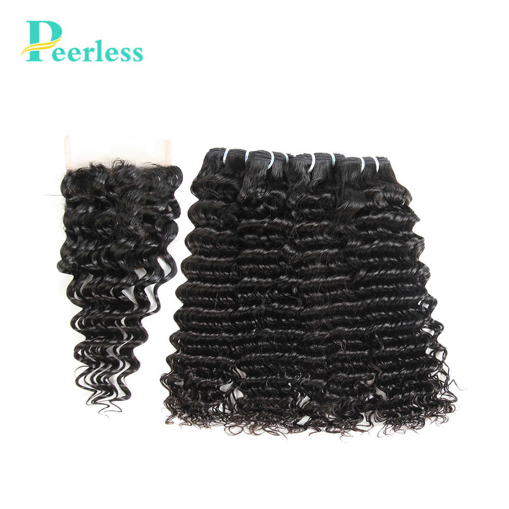 PEERLESS волосы бразильские девственные волосы глубокая волна 100% человеческие волосы 4 пучка с закрытием шнурка натуральный цвет Бесплатная доставка
