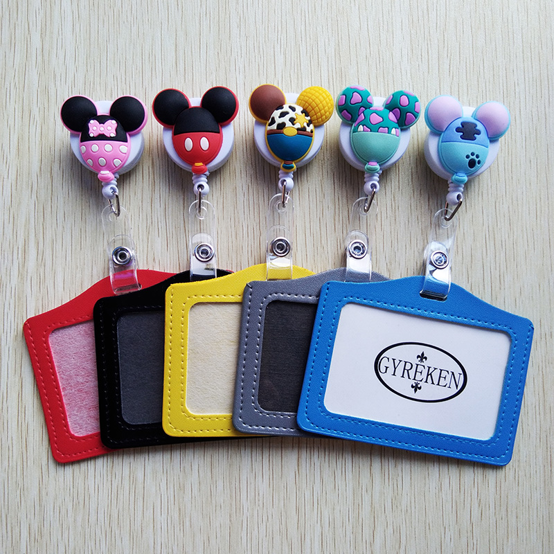 1Pcs Mini Candy Colors Cartoon Retractable Badge Reel With Horizontal Style PU ID Business Card Work Card Badge Holder