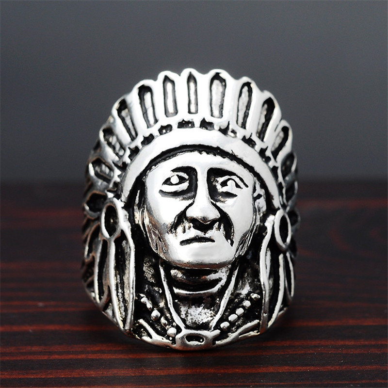 1pcs NEW Fashion Titanium Vintage Native American Mens Large Indian Apache Chief Biker Ring