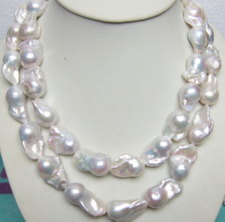 HUGE SOUTH SEA GENUINE WHITE BAROQUE PEARL NECKLACE 35 INCH
