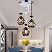 Nordic Wrought Iron Led Dining Room lights Three Modern Crystal Living Room ceiling lamp Pastoral Creative Crystal Lamps