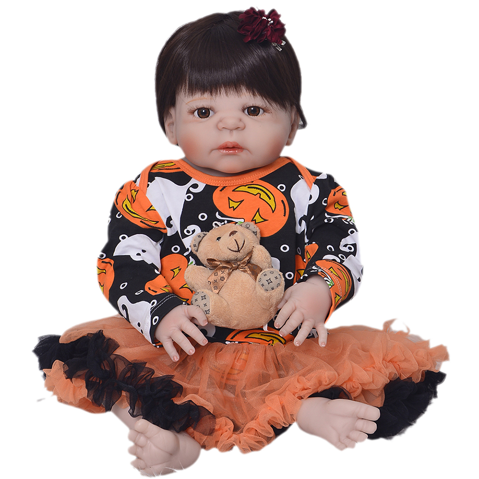 Hot 2017 Christmas Reborn Dolls Girl Realistic Truly Babes 23 Full Silicone Vinyl Reborn Baby Dolls Waterproof 57 cm Princess ...