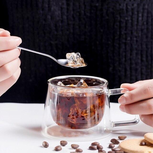 Heat Insulation Glass Coffee Mug, Double Wall Glass Coffee Tea Cups Drinkware Milk, 6.8oz/200ml Espresso Coffee Milk Latte Cup 6