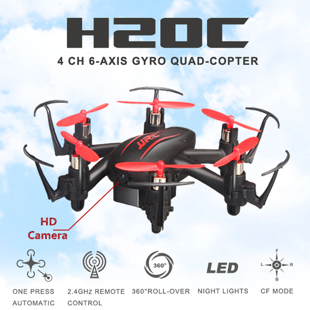 6 Eixos de Mini H20c Jjrc Rc Drone Com Câmera Hd Dron Micro Quadcopters Rc Helicóptero Brinquedos de Controle Remoto Nano Profissional helicópteros