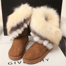 Autumn and winter warm high long snow boots artificial faux fox rabbit fur leather tassel women's suede shoes Thick 2016 fashion