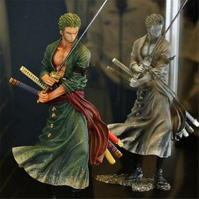 Anime ONE PIECE Roronoa Zoro Doll doll anime around Halloween Christmas birthday gift car PVC material The size is about 20cm.