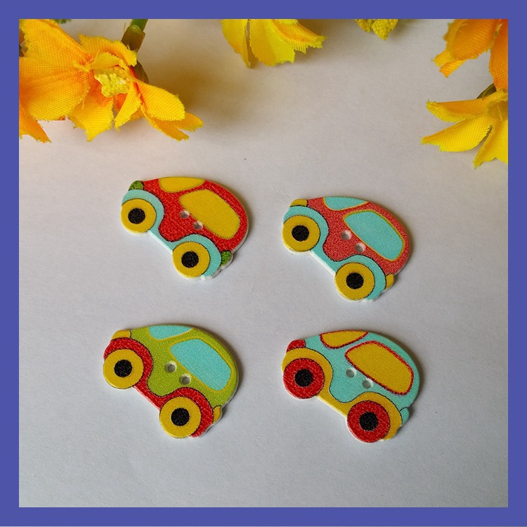 Newly arrival 19*25mm sewing buttons printed Car shape wood button mixed 120pcs scrapbooking accessories botoes para artesanato