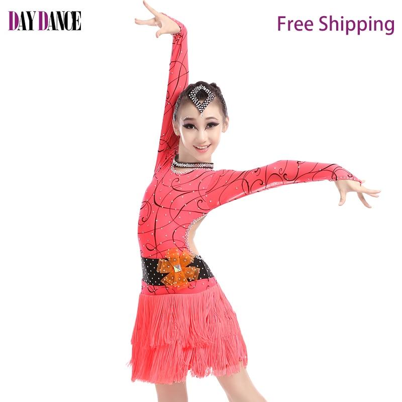 Professional Sexy Semi Transparent Sleeve Latin Dance Dress Romantic Fringe Skirts Girls Modern Tango Salsa Competition Costumes