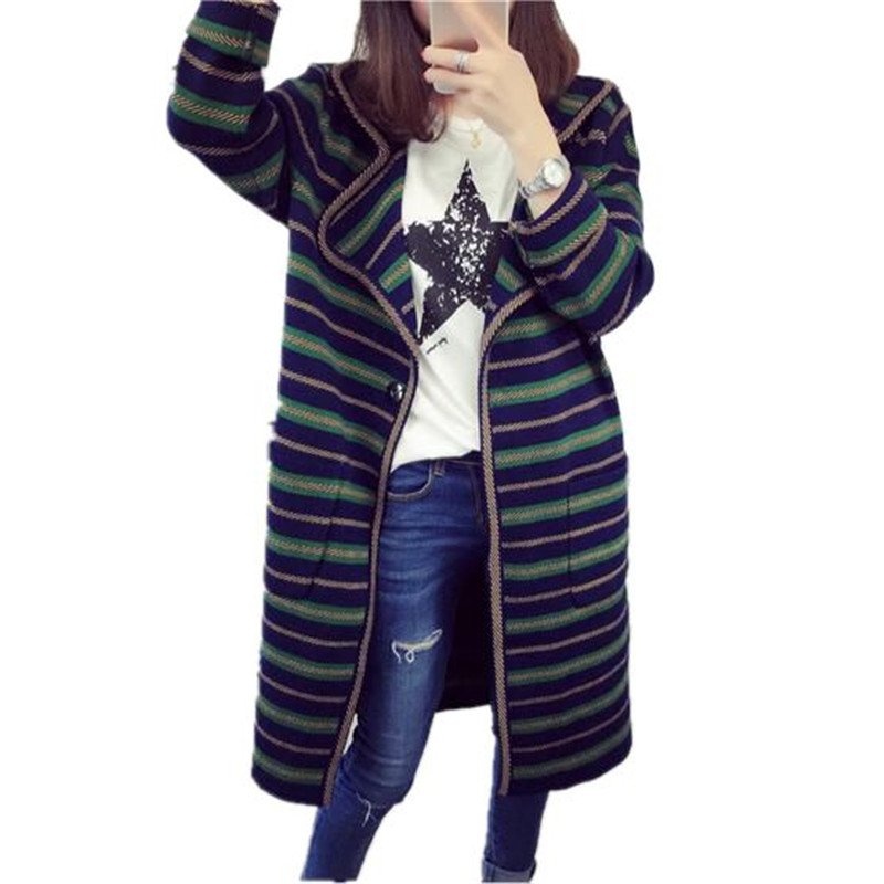 2016 Winter Fashion Knitted Cardigans Sweater Women Loose Striped Sweater Cardigans V neck Temperament Long Sweater