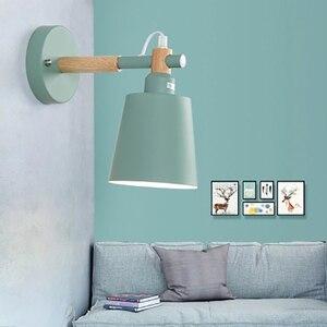 Image 3 - נורדי אור עץ מלא Macarons שינה מנורות קיר ליד מיטת המעבר LED אור קיר קיר צבעוני אופנה אורות למלון הבית