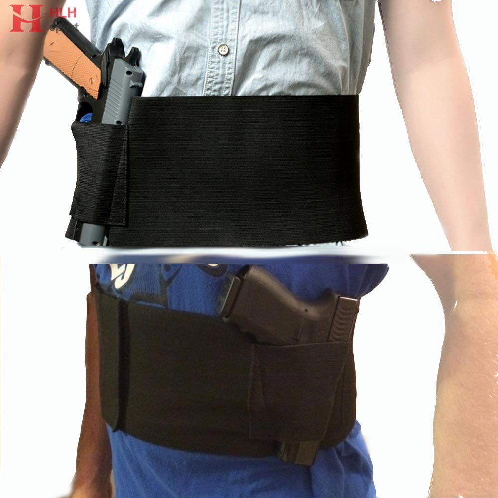 US $6 34 20% OFF|HlhSport Tactical Concealed Carry Belly Band Gun Pistol  Holster + 2 Mag Pouches Hidden Waist Belt Holster fit Glock 1911 M9 P226-in