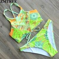 ZMTREE Brand 2017 New High Neck Bandage Bikinis Women Print Swimwear Brazilian Swimsuit Female Beach Bathing
