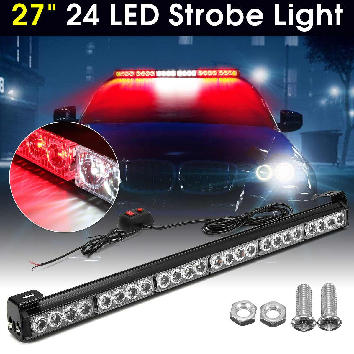 1PCS 27inch 24 LED White Red Emergency Traffic Hazard Flash Warning Light Bar Traffic Strobe Flashing Light Car Light Styling