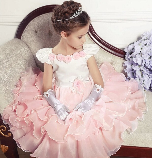 ФОТО Full princess dress Pink girlsl sleeveless summer dress party dresses wedding kids clothes vestido de fiesta infantil menina