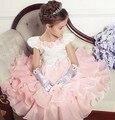 Girlsl cheio princesa vestido Rosa sem mangas vestido de verão vestidos de festa de casamento roupa dos miúdos vestido de festa infantil de menina