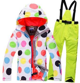 Productos de calidad señora traje de esquí chapa chaqueta de esquí ropa conjunto
