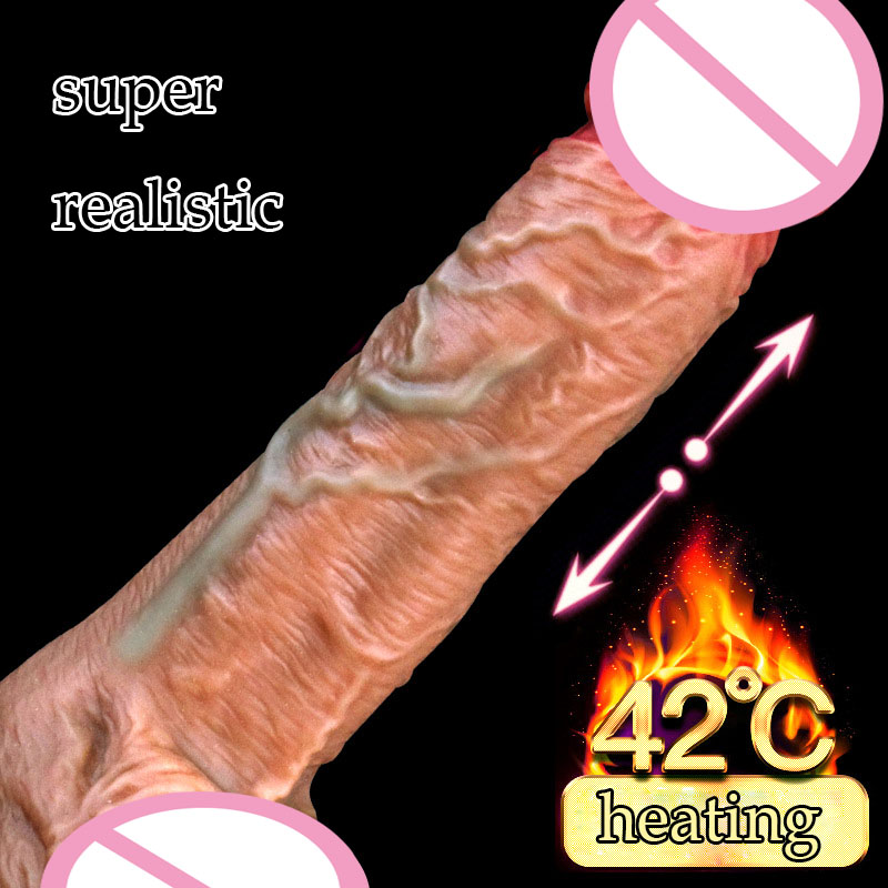 Super Realistic Dildo Suction Cup Telescopic Heating Dildo Vibrator Jelly Dildo Penis Huge Dick USB Charging Dildos For Women realistic huge dildo usb charging heating vibrating artificial penis suction cup masturbator dick sex toys for women vibrator