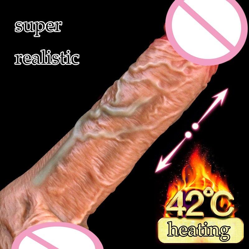 Super Realistic Dildo Suction Cup Telescopic Heating Dildo Vibrator Jelly Dildo Penis Huge Dick USB Charging Dildos For Women