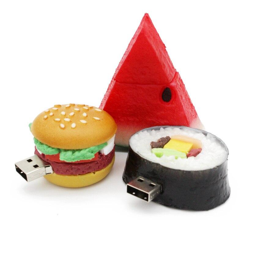 Food Usb Flash Drive Creative Hamburger Sushi Watermelon Pendrive Pen Drive 4gb 8gb 16gb 32gb Memory Stick U Disk Gift Toy Drive