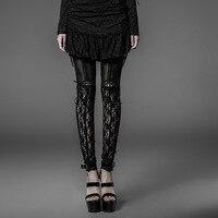 Gothic Super Sexy Lace Leggings for Women Steampunk Black High Waist Stretch Leggings