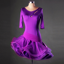 Flower fish tail Latin Dance costumes Modern Dance Dresses purple/blue/red/black Tango/Cha cha/Rumba Competition Dress