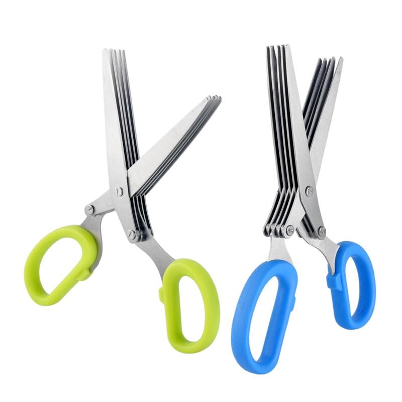 5 layers stainless steel scissor fruit vegetable kitchen cutting scissors shredded scallion green onion slicer knife tools