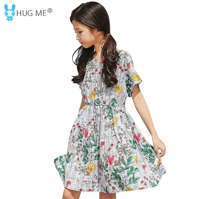 e86ca215b24e Cotton Floral Dresses Kids Girls Short Sleeve Batwing Dress Summer ...
