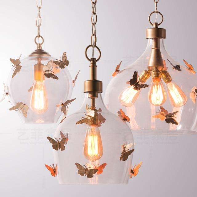 Amerikaanse retro ijzer glas bal vlinder hanglamp balkon
