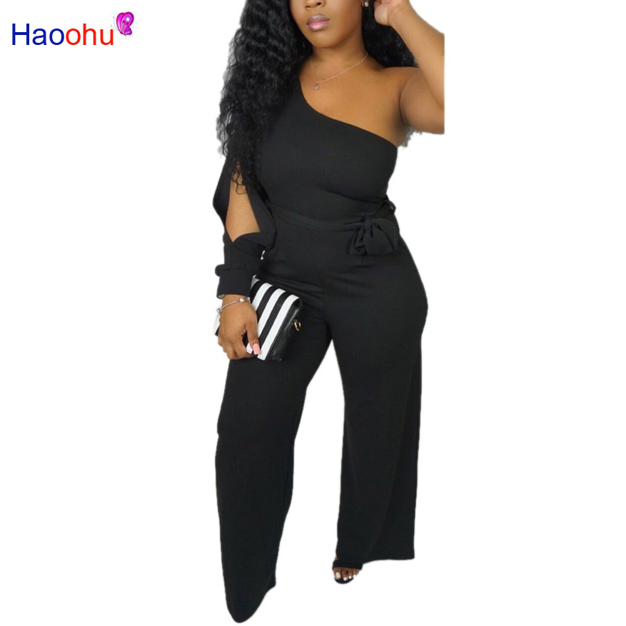 One Shoulder Casual Rompers Womens   Jumpsuit   Sexy Long Sleeve Cut Out Full Length Overall Summer Belt One Piece Wide Leg Bodysuit