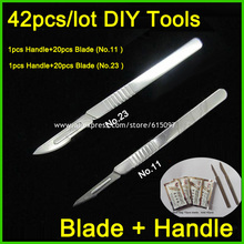 42pcs/lot Blade and Handle 11# and 23# Medical Scalpel Opening Repair Tools Knife for Disposable Sterile/Mobile Phone/Beauty/DIY