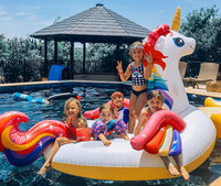 Super Giant Colorful Unicorn Pool Float Inflatable Colored Pegasus Float Air Mattress Ride on Swimming Ring Party Fun Water Toys