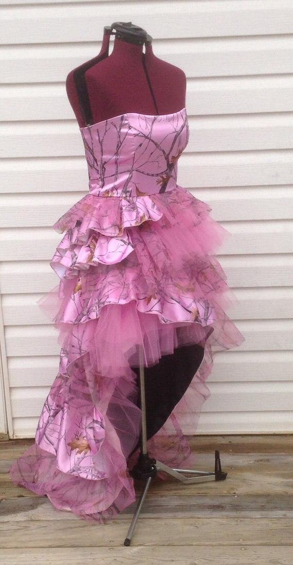 Envío gratis trasero largo corto delantero rosado camo vestidos de ...