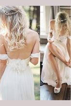 Simple Off the Shoulder Beach Wedding Dress with Beading Waist Ivory