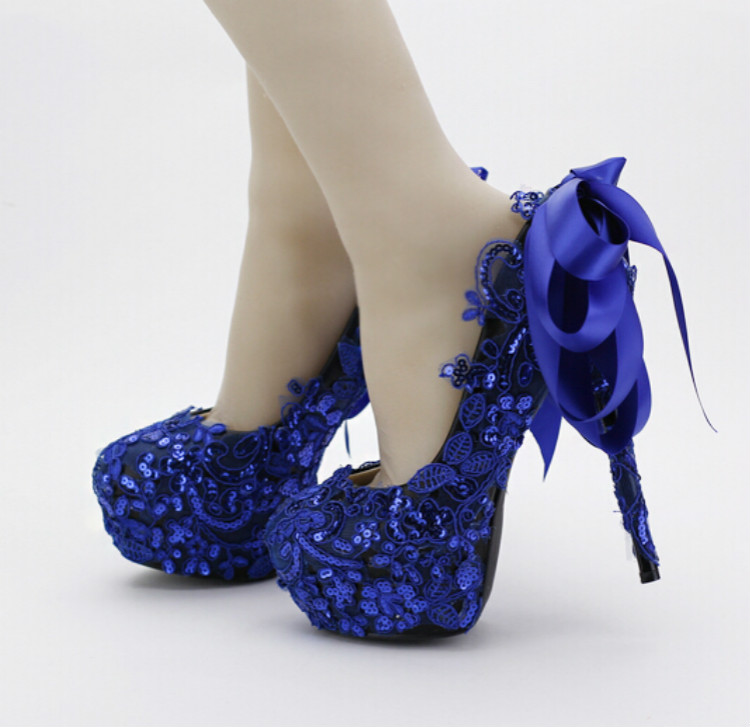 blue bow bridal shoes lace sequined shoes super high heels