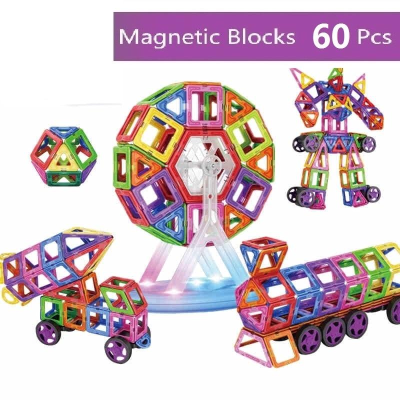60PCS Magnetic building blocks construction toys for toddlers Designer magnetic toys Magnet model & building toys enlighten new magnet game mini enlighten magnetic building blocks models