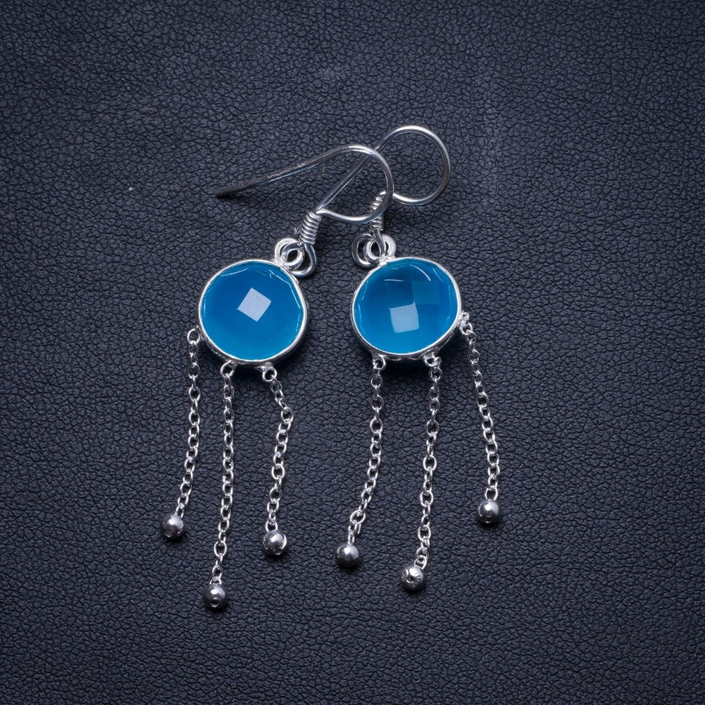 Natural Chalcedony Handmade Unique 925 Sterling Silver Earrings 2 X3990Natural Chalcedony Handmade Unique 925 Sterling Silver Earrings 2 X3990