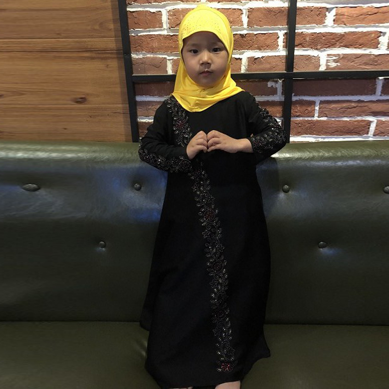 Vestidos 2019 Children Kaftan Turkey Abaya Kids Dubai Arabic Muslim Dress Girl Moslima Elbise Hijab Turkish Islamic Clothing