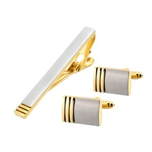 Cufflinks And Clips Mens Gold Cufflink Set Tie Pins For Men Cuff links Luxury Clasp Classic Gifts Jewelry Sleeve Wedding QiQiWu