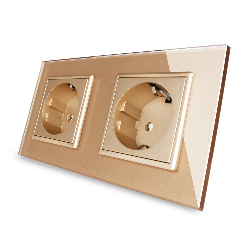 Waterproof EU Standard Wall Power Socket, Golden Crystal Glass Panel, Manufacturer of 16A Wall Outlet, OS-02EU-3 atlantic brand double tel socket luxury wall telephone outlet acrylic crystal mirror panel electrical jack