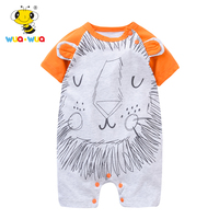Wua Wua Baby Jumpsuits Rompers Boy Girl Summer One Pieces Short Sleeve Infant Clothing Cartoon Lion