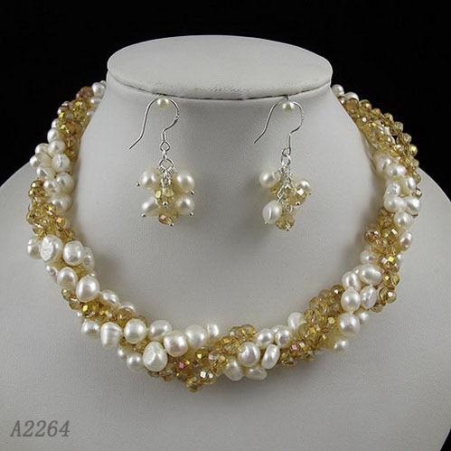 Boutique de bijoux de perles uniques, ensemble de bijoux cadeau de dame parfaite 4 rangées de boucles d'oreilles collier de perles d'eau douce en cristal de Champagne