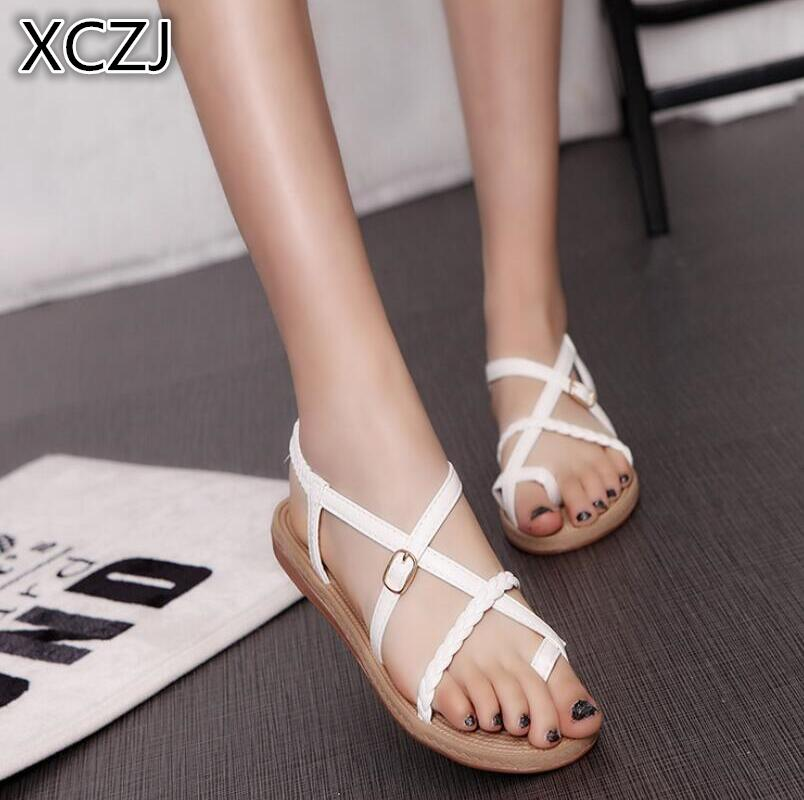 XCZJ 2018 new casual and comfortable wild women's shoes flat with sandals beach shoes summer tide women's shoes A145 xczj sandals female 2018 summer new thick with bow tie lattice shoes korean students wild word buckle high heels