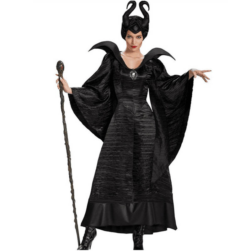 Halloween Costumes Women Adult  Evil Witch Maleficent Cosplay Black Dress Plus Size Sleeping Beauty Dark Queen Halloween Costume
