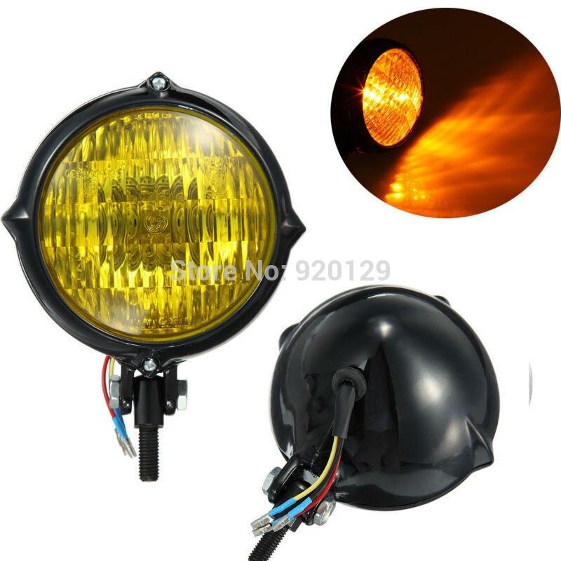 Motorcycle Motorbike Moto parts 4 Black Amber Lens Head Light Lamp For Harley Bobber Chopper Sportster Custom